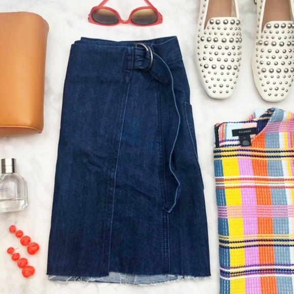 Madewell Denim Wrap Front Raw Hem Mini Skirt